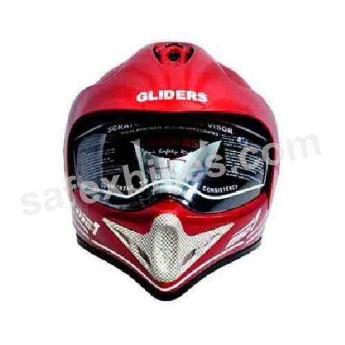 Click to Zoom Image of GLIDERS FULL FACE MOTOCROSS HELMET WITH VISOR MC1 CHERRY RED