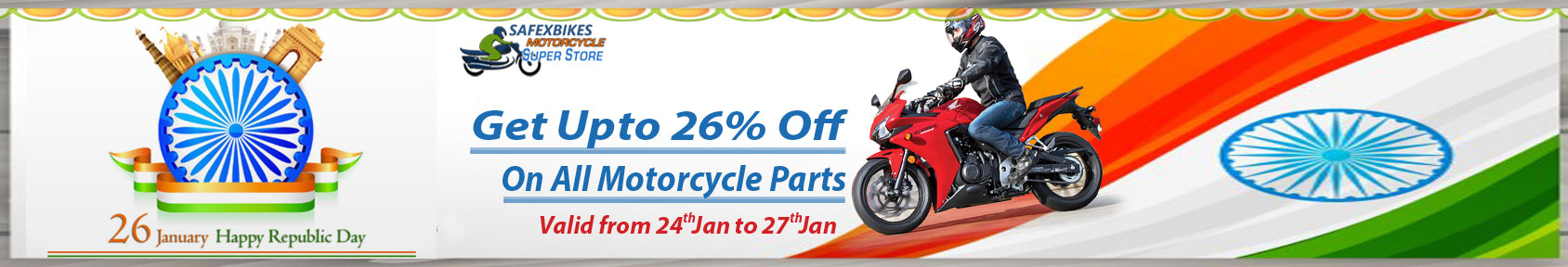 Special offers on Genuine Motorcycle Spare Parts And Accessories - Republic Day upto 26percent off